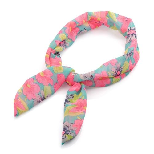 Green and Pink Flower Print Knot Wired Headband
